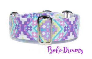 "Aztec Martingale Dog Collar, 1.5"" Wide Ready to Ship, Size Large 13-17"""