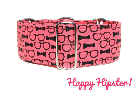 Hipster Glasses Martingale Dog Collar, Ready to Ship, Size Large 13-17