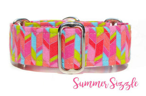 "Spring Geometric Martingale Dog Collar, 1.5"" Wide Ready to Ship, Size Large 13-17"""