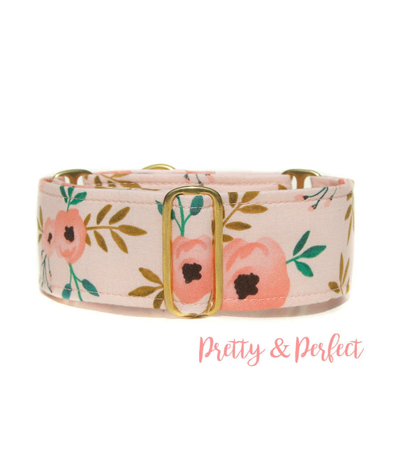 2 Inch Wide Floral Peonies Martingale Dog Collar,  Ready to Ship, Size Large 13-17