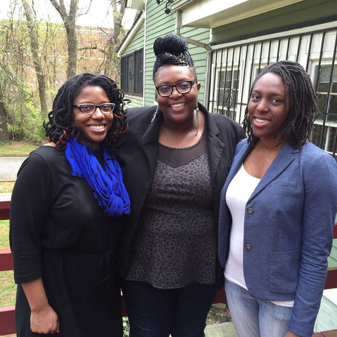 Image of Access Reproductive Care South East co-founders Bianca Campbell (right), and their co-workers, Selena Phipps Adetunji (left) and Oriaku Njoku