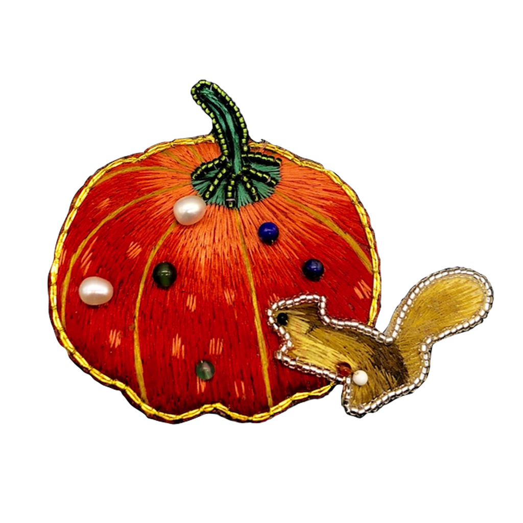 Halloween Pumpkin Hand Embroidered Brooch