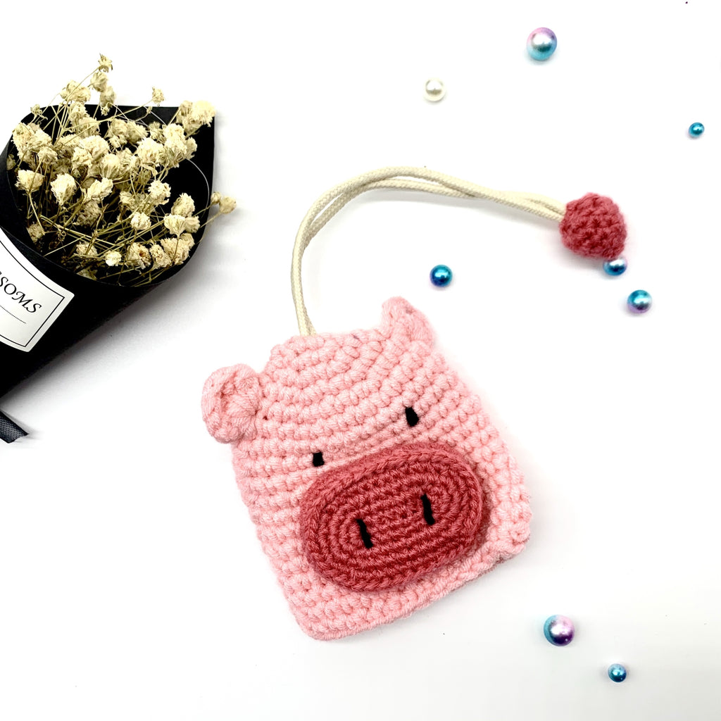 Pink Pig Knitting Key Chains