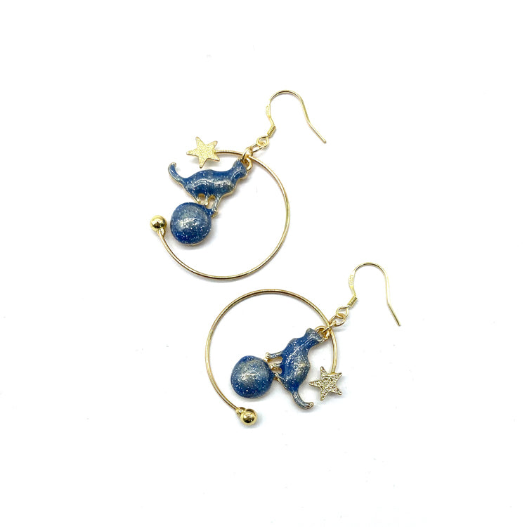 Blue Star Kitty Earrings