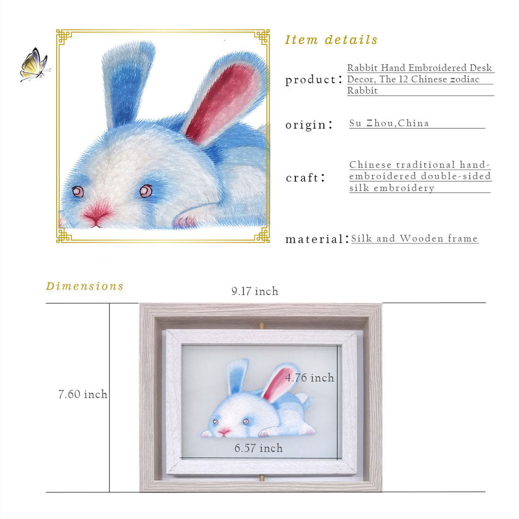 Rabbit Hand Embroidered Desk Decor, The 12 Chinese zodiac Rabbit