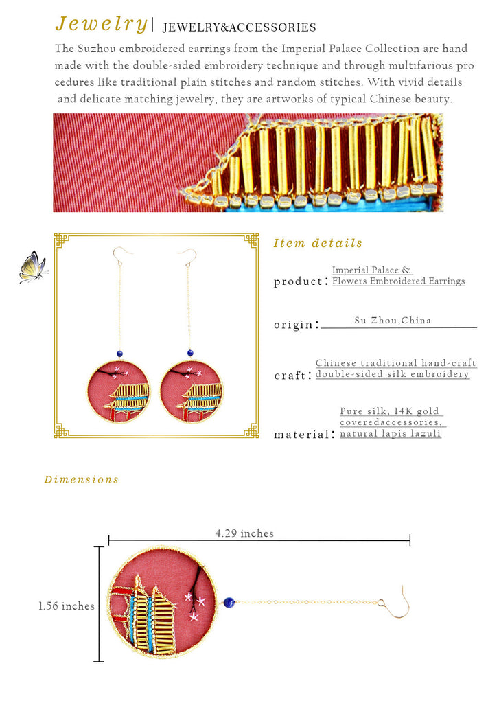 Imperial Palace & Flowers Embroidered Earrings