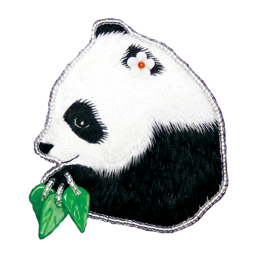 Panda Hand Embroidered Brooch Style 1
