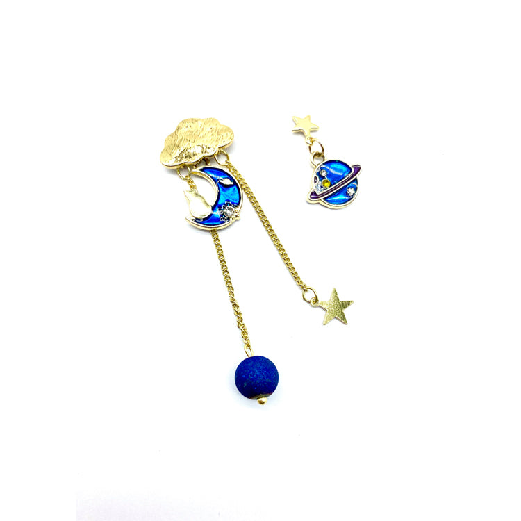 Moon Star Kitty Earrings