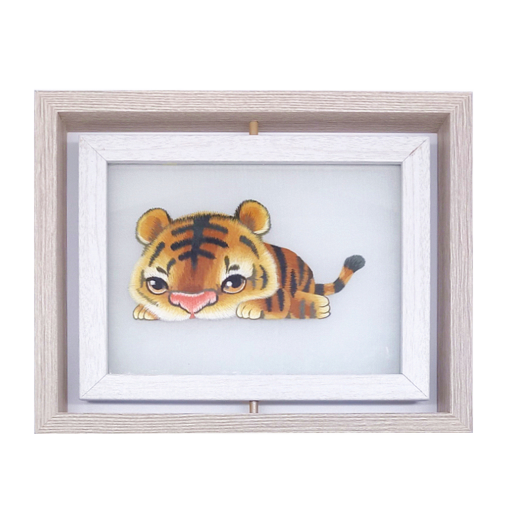 Tiger Hand Embroidered Desk Decor, The 12 Chinese zodiac Tiger