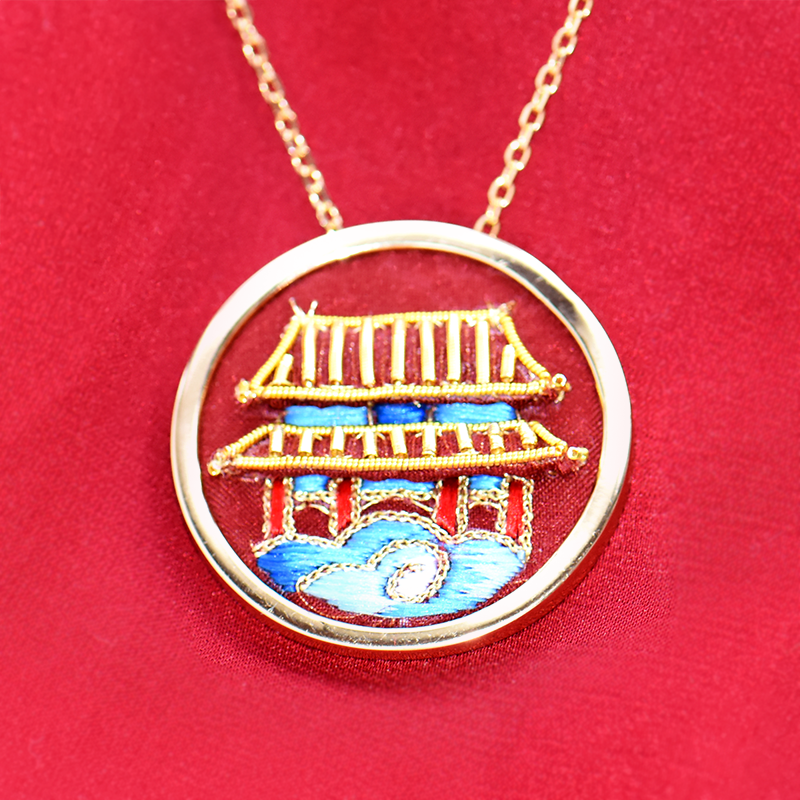 Chinese Palace Embroidered Necklace