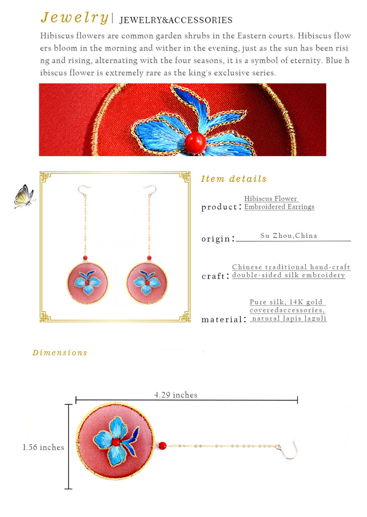 Hibiscus Flower Embroidered Earrings