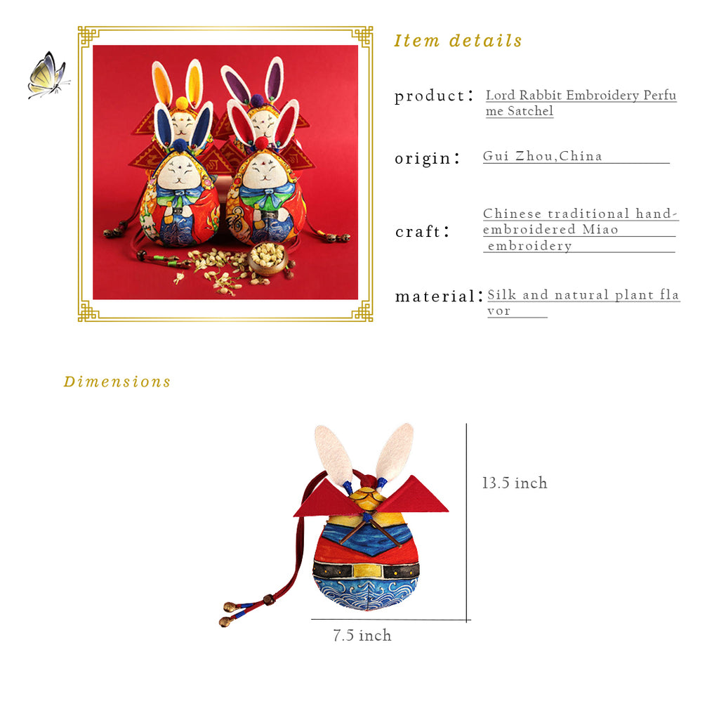 Lord Rabbit Embroidery Perfume Satchel