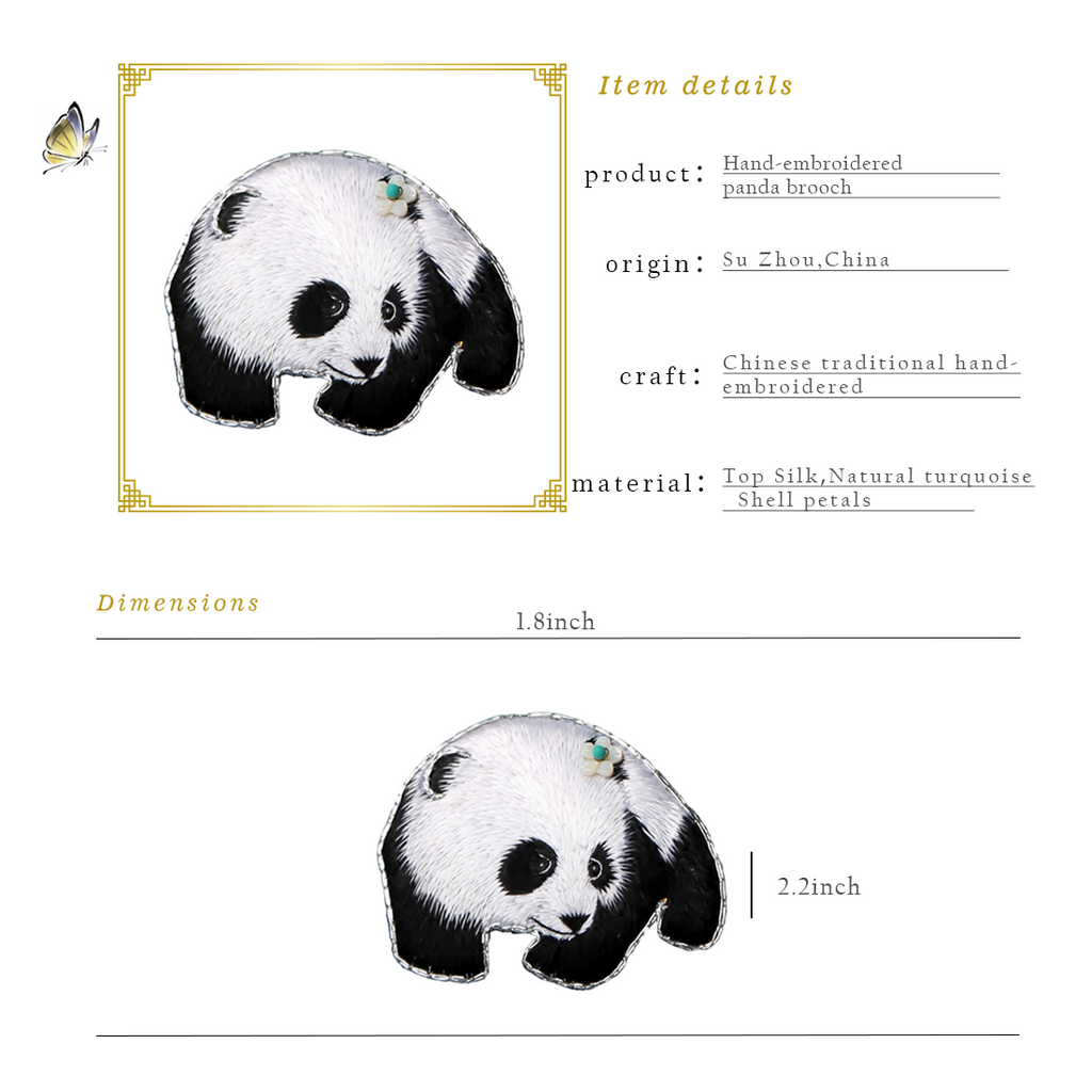 Panda Hand Embroidered Brooch Style 2