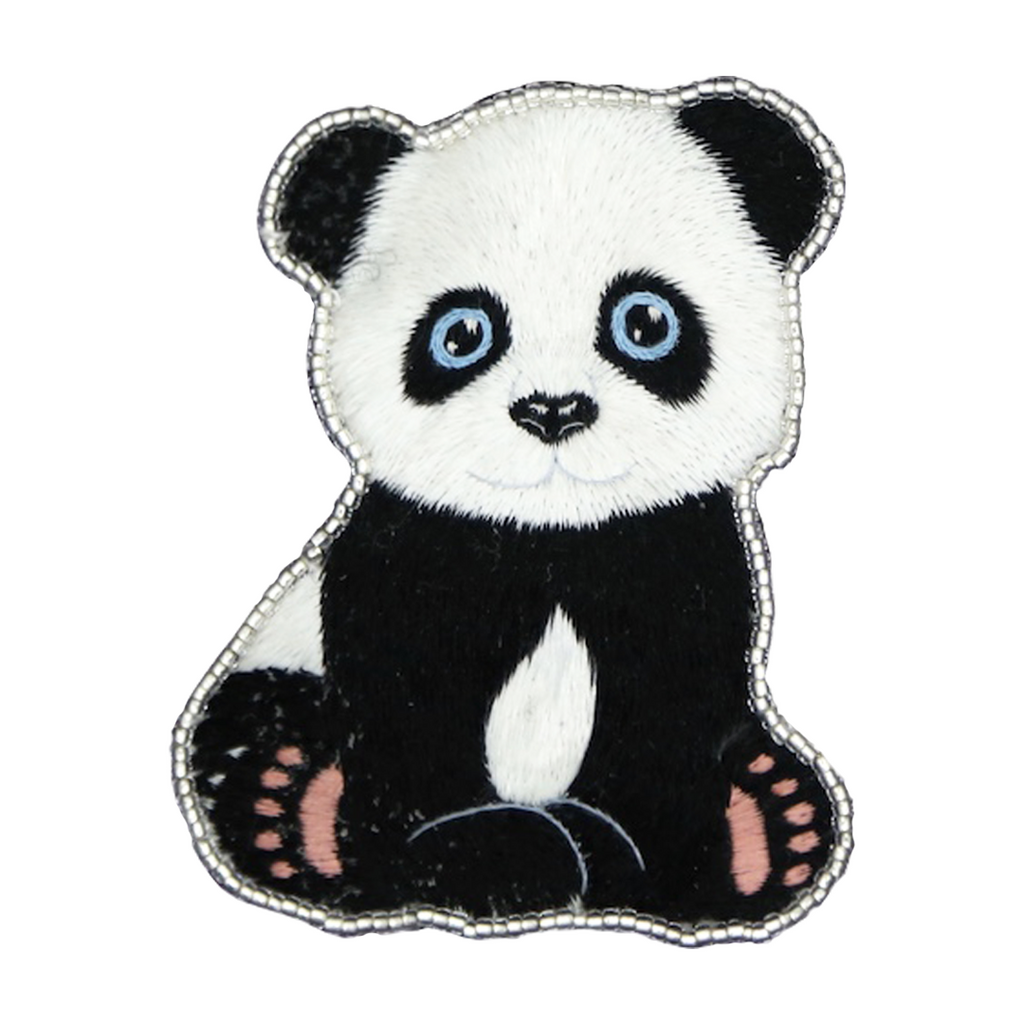 Panda Hand Embroidered Brooch Style 3