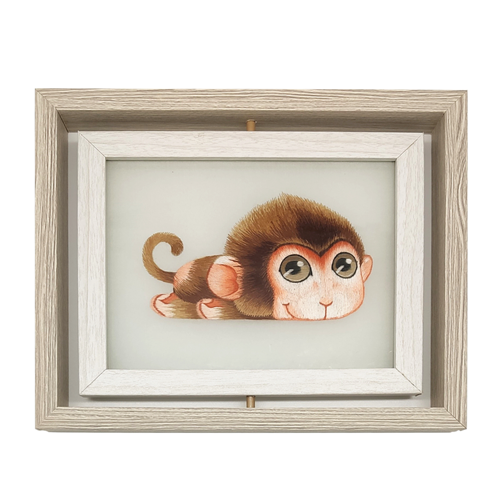 Monkey Hand Embroidered Desk Decor, The 12 Chinese zodiac Monkey