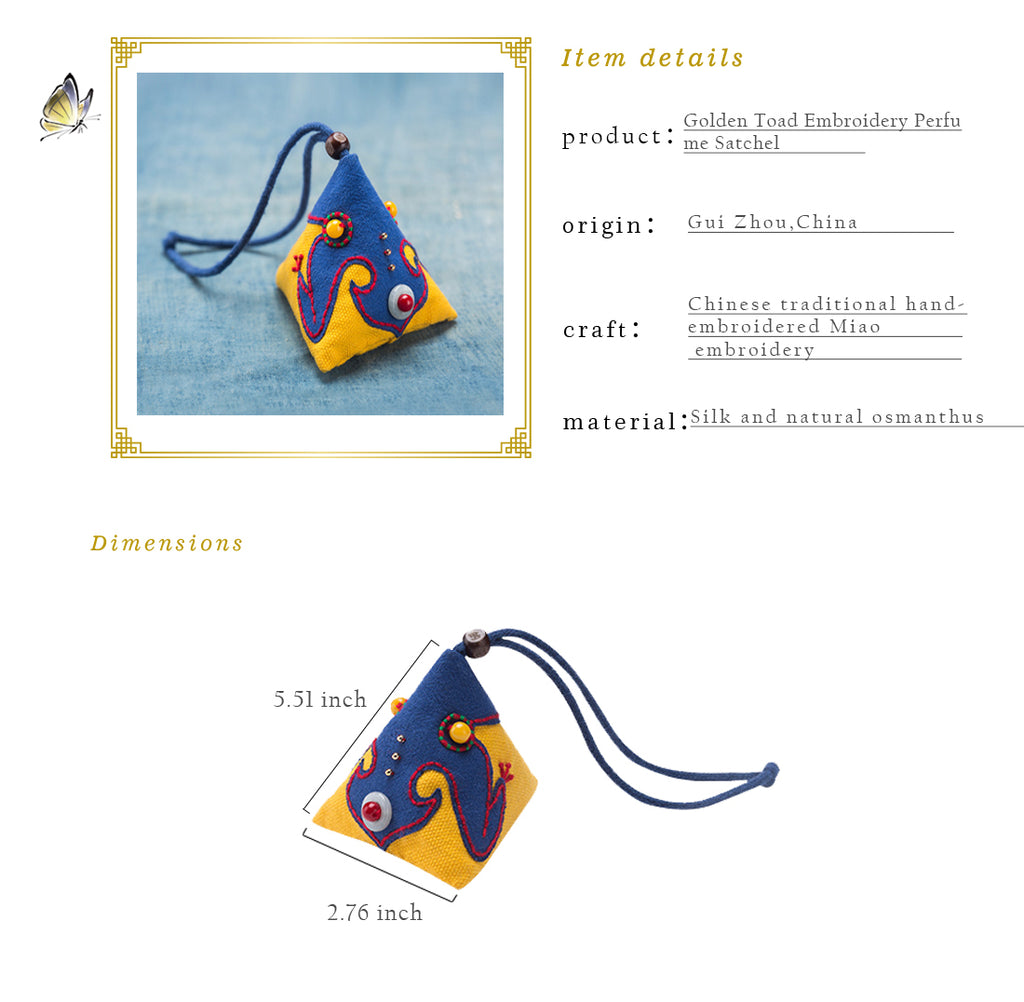 Golden Toad Embroidery Perfume Satchel