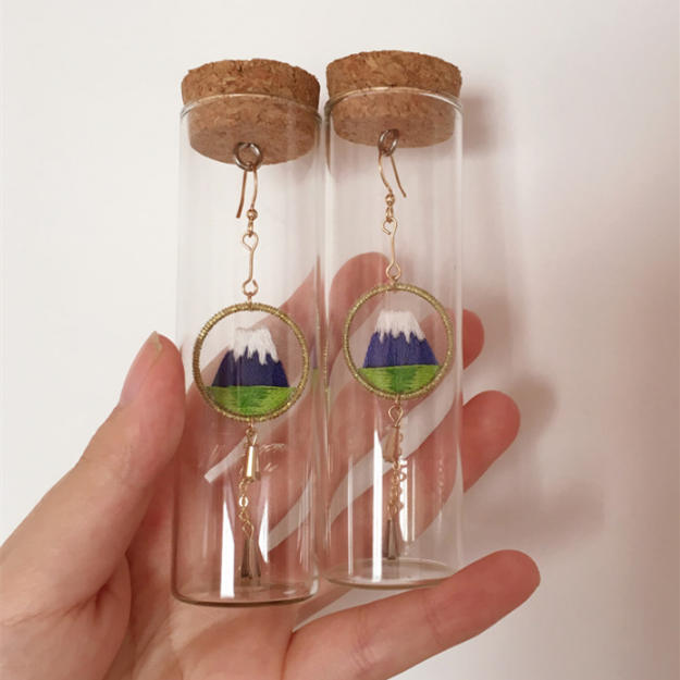 Mount Fuji Embroidered Earrings