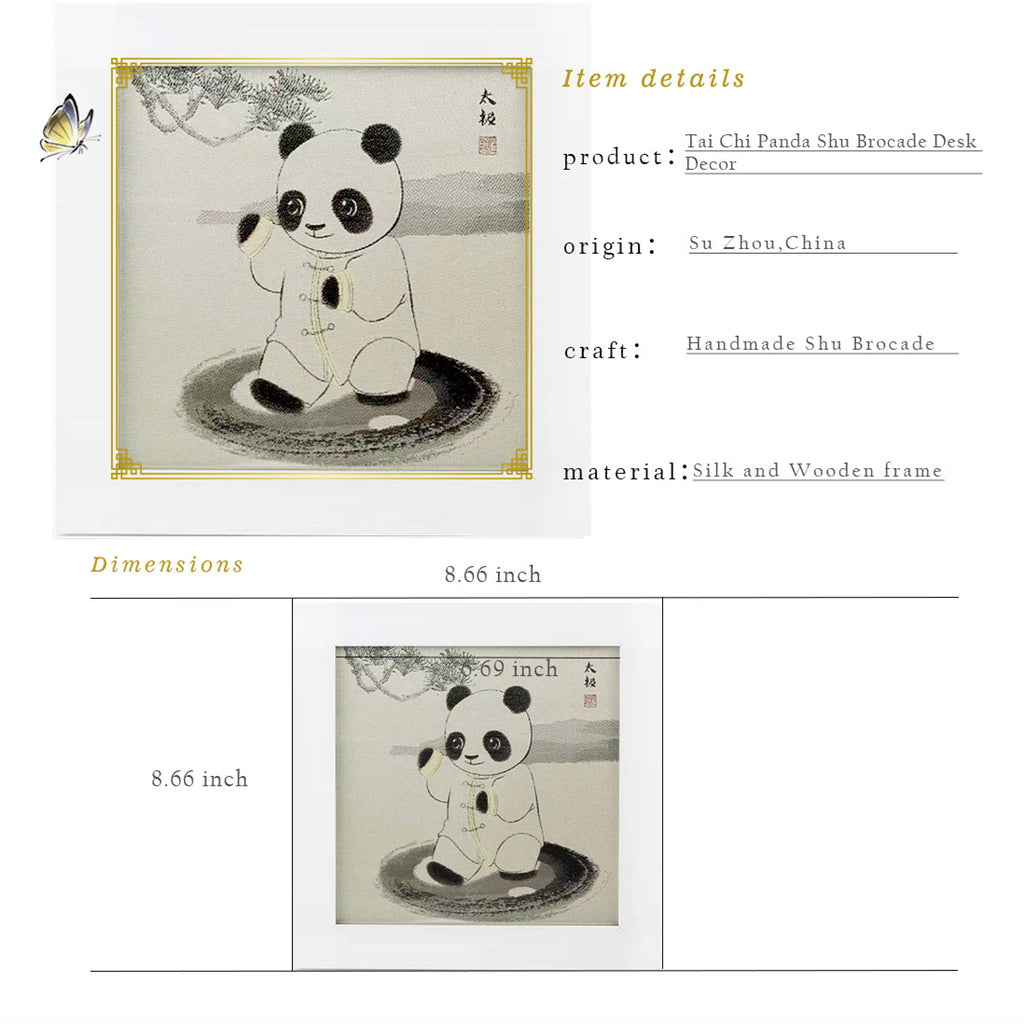 Tai Chi Panda Shu Brocade Desk Decor