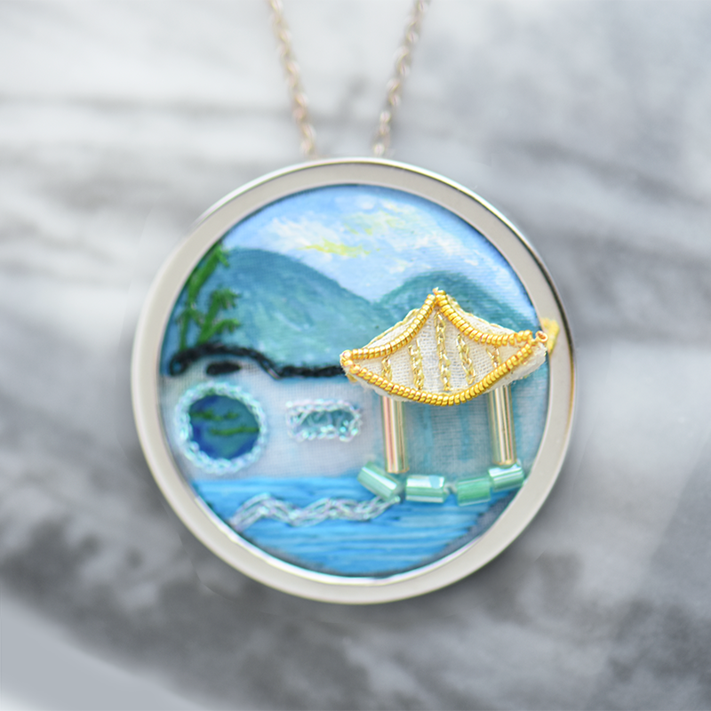 Chinese Garden Embroidered Necklace