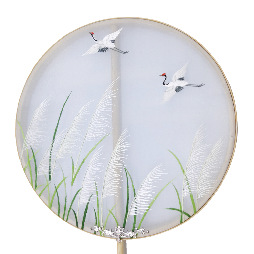 Cranes Bulrush Hand Embroidered Round Fans