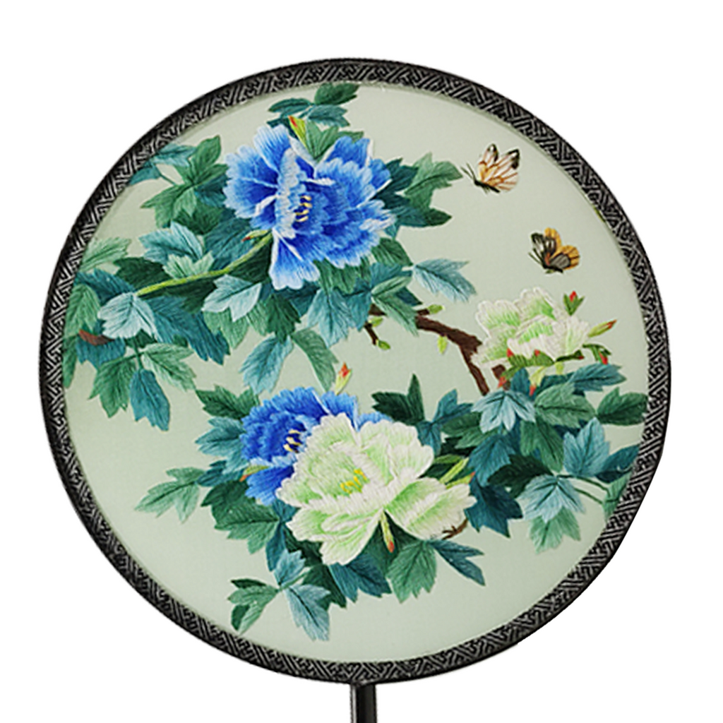 Peony Hand Embroidered Round Fans