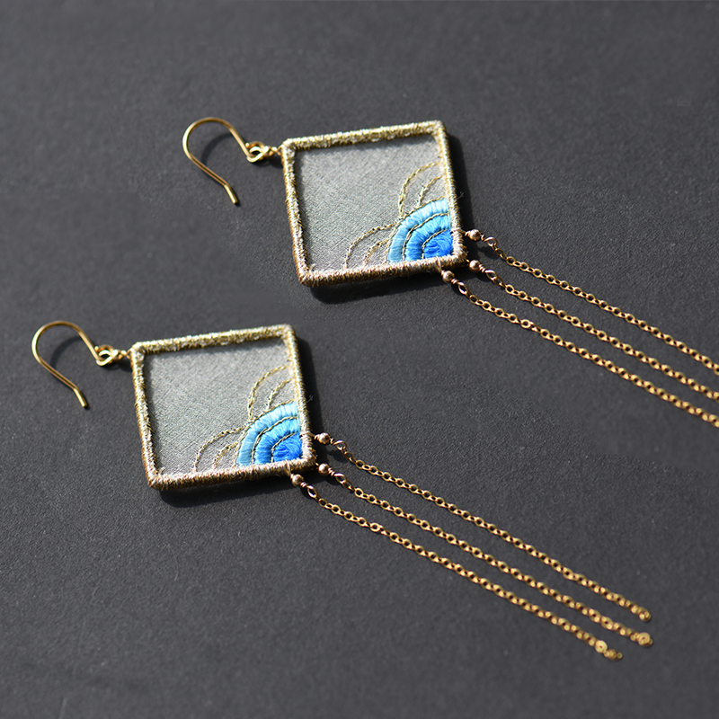 Sea Wave Embroidered Earrings