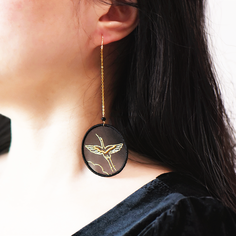 Red-crowned Crane Embroidered Earrings