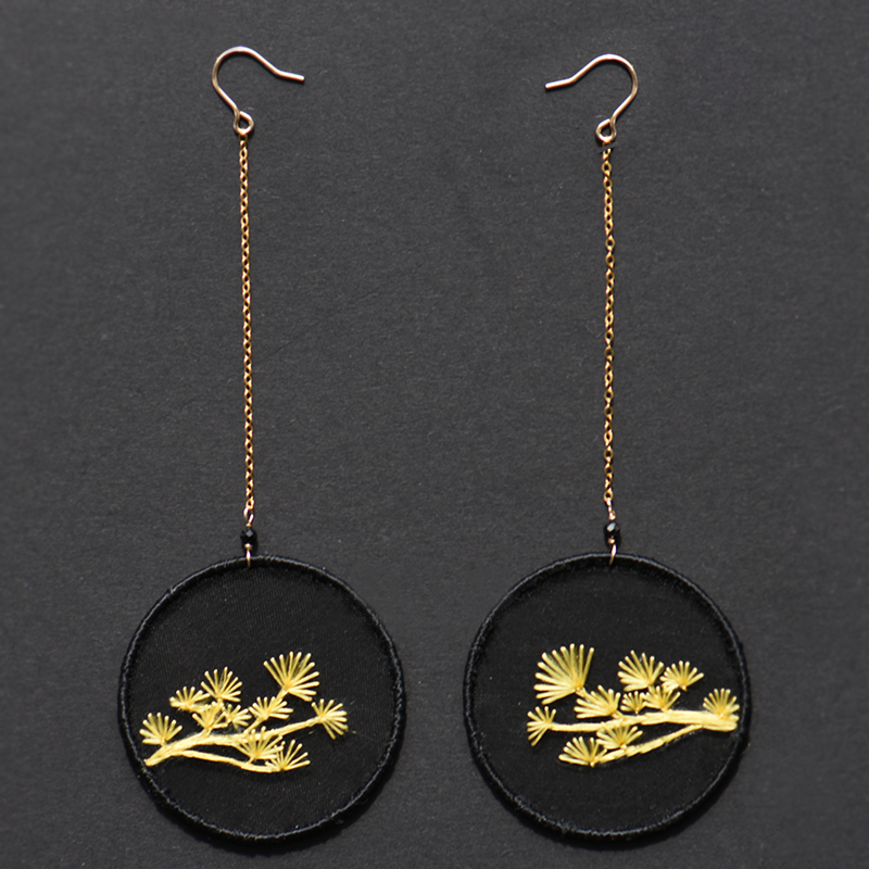 Piny Pillow Embroidered Earrings