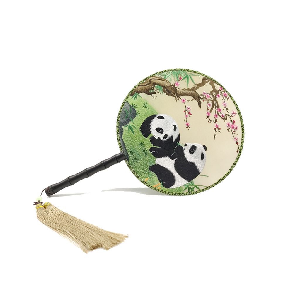 Panda Hand Embroidered Round Fans