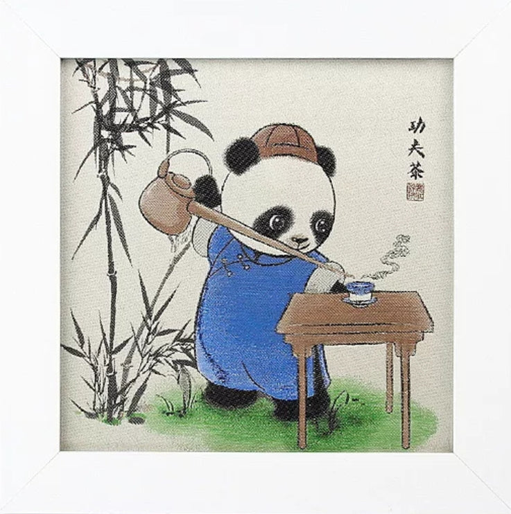 Panda Kung Fu Tea Shu Brocade Desk Decor