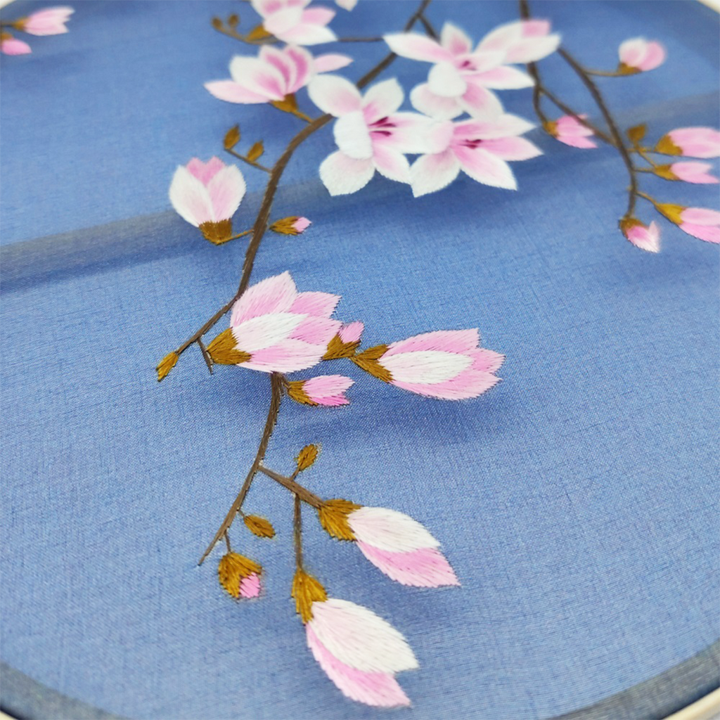 Peach Blossom Hand Embroidered Round Fans