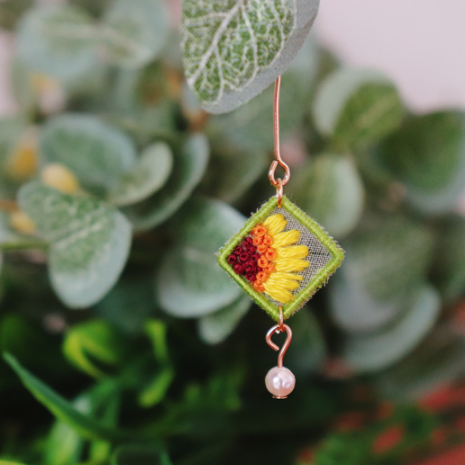 Sunflower Hand Embroidered Earrings
