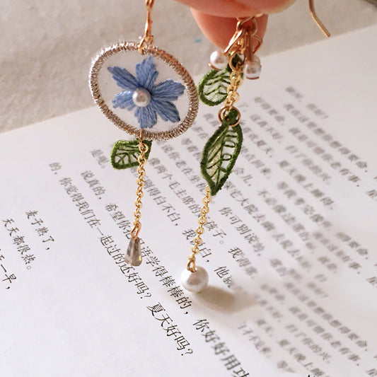 Summer Flower Embroidered Earrings