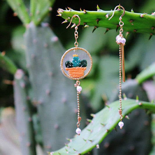 Cactus Embroidered Earrings