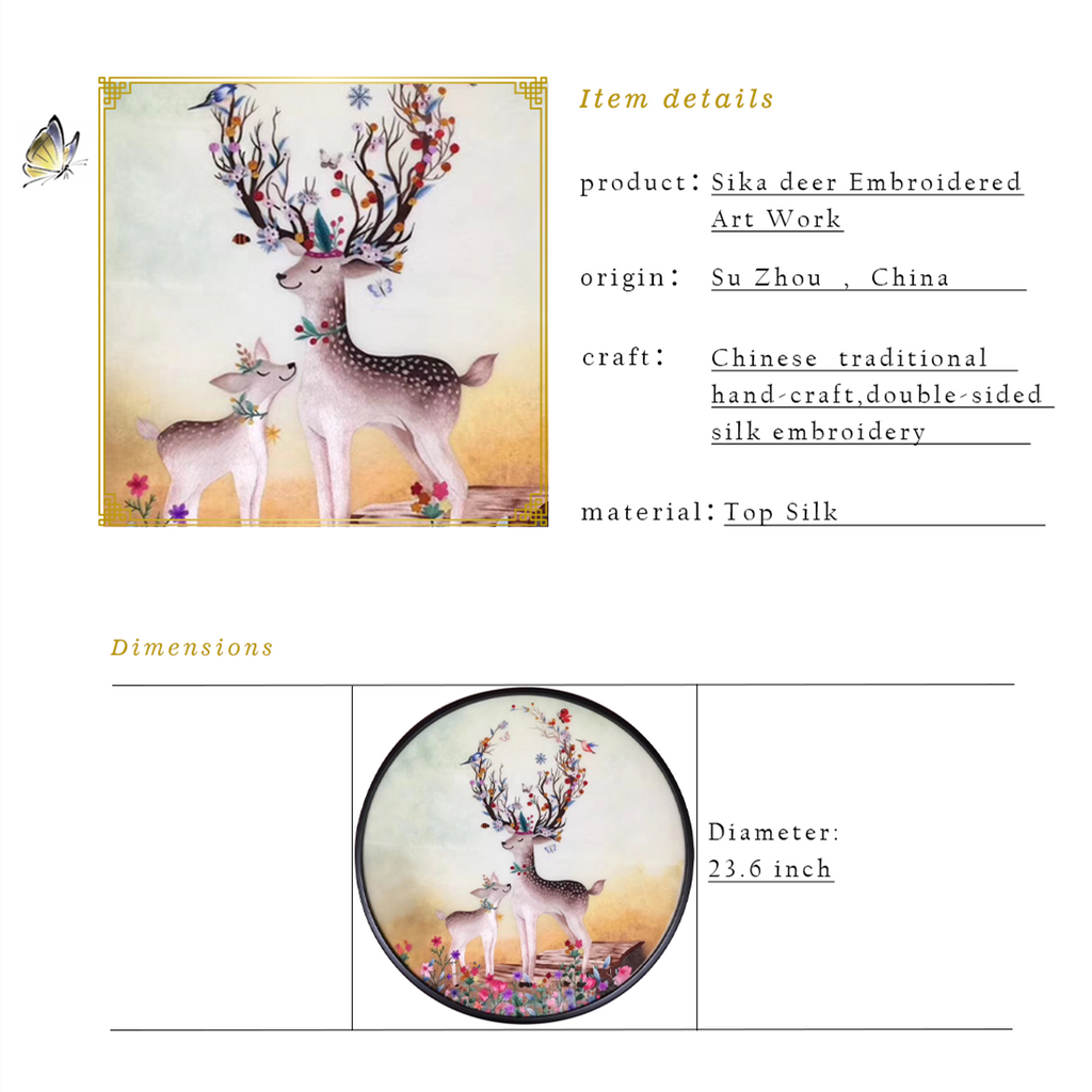 Sika deer Embroidered Artwork