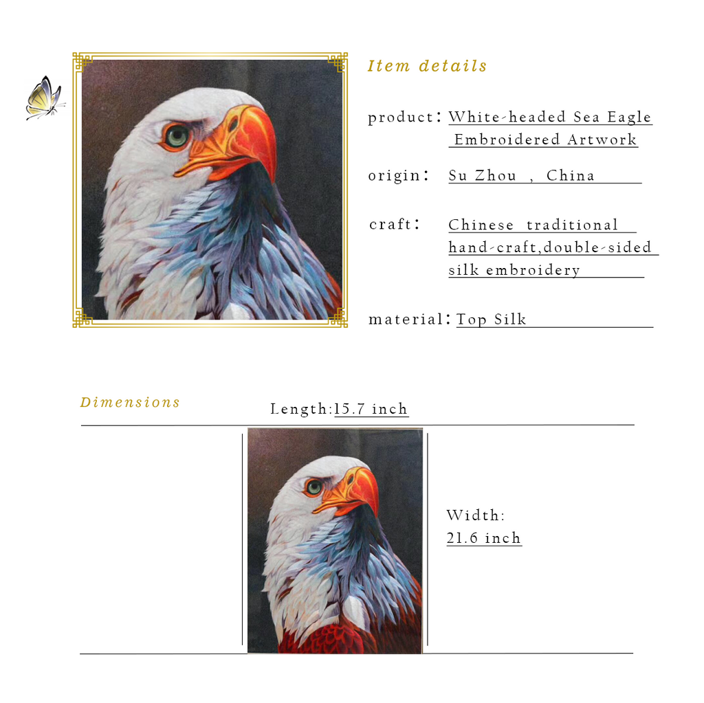 White-headed Sea Eagle Embroidered Artwork