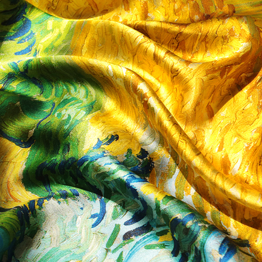WHEAT FIEAD WITH CYPRESSES Silk Scarves