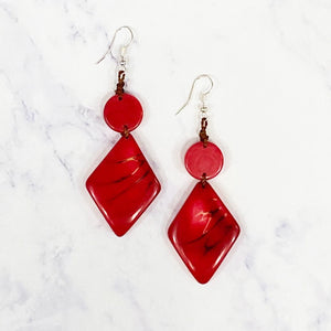 Diamond Tagua Earrings - Red