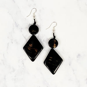Diamond Tagua Earrings - Black