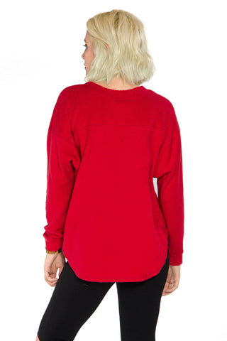 Arkansas Razorbacks Womens Sherpa Crewneck - Crimson
