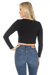 Iowa Hawkeyes Long Sleeve Button Crop