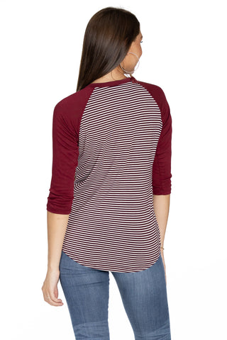 Virginia Tech Hokies Leah Striped Baseball Tee