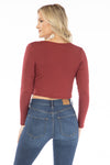 Florida State Seminoles Long Sleeve Button Crop