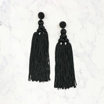 Chinese Knot Tassel Earrings - Black