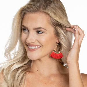 Feather Tassel Earrings - Red