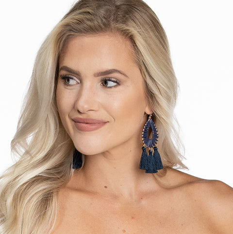 Raffia Tassel Earrings - Navy