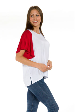 The Victoria Flutter Sleeve Baseball Tee