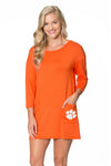 Clemson Tigers Button Back Pocket Dress