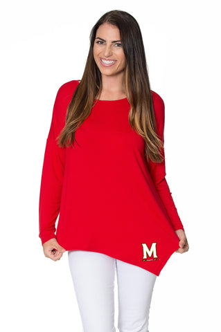 Maryland Terrapins Womens Asymmetrical Tunic - Red