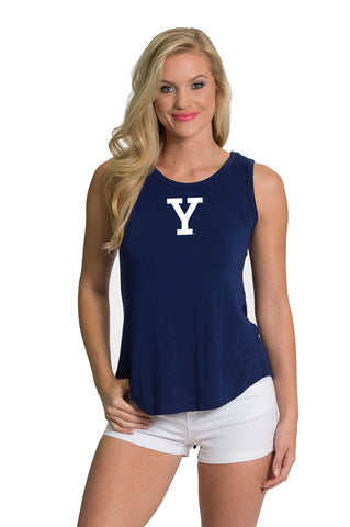 Yale Bulldogs Womens Key Hole Tank - Navy